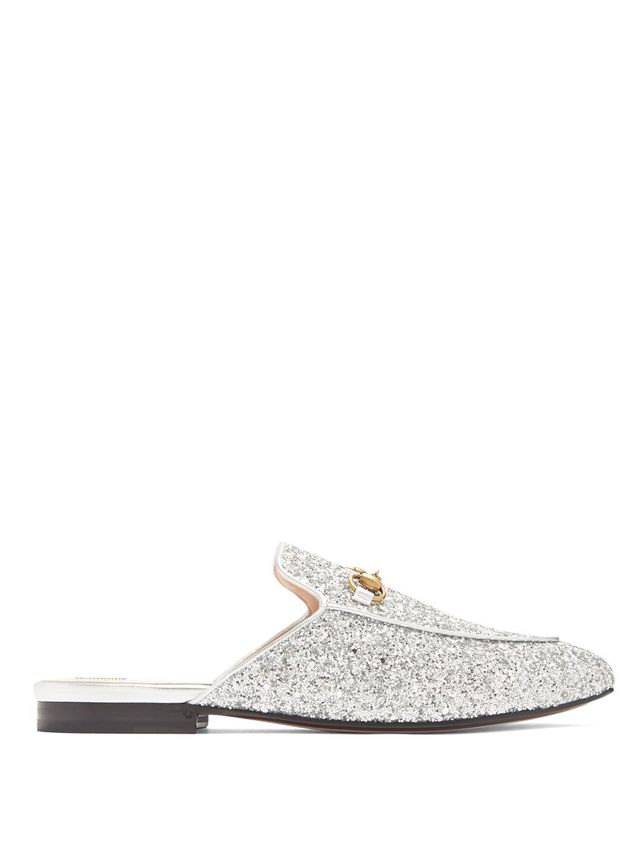 Princetown glitter backless loafers