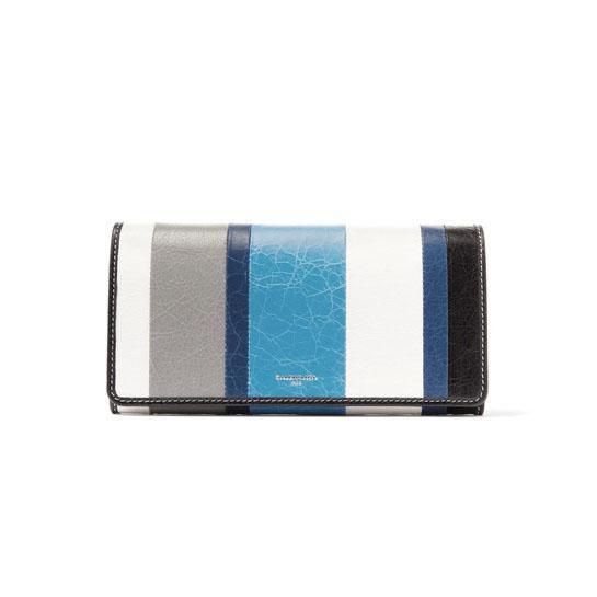 Bazar Striped Textured-leather Wallet