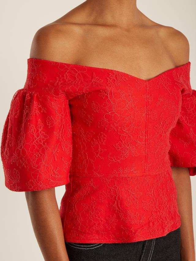 Emilio de la Morena Bianca Off-the-Shoulder Cotton-Blend Lace Top