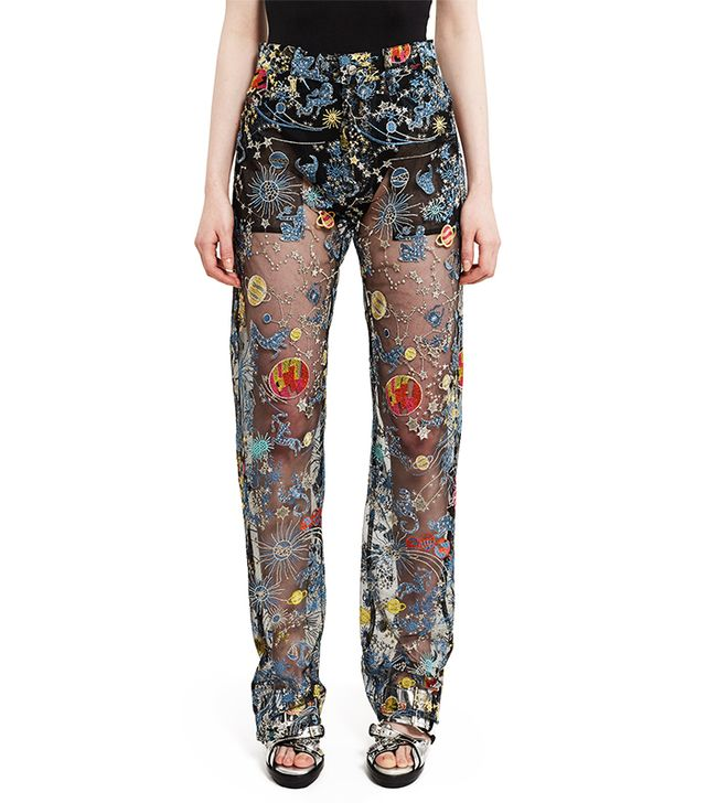 Adam Selman Astro Embroidered Tulle Sheer Jeans