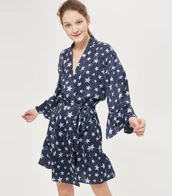Star Print Satin Dressing Gown