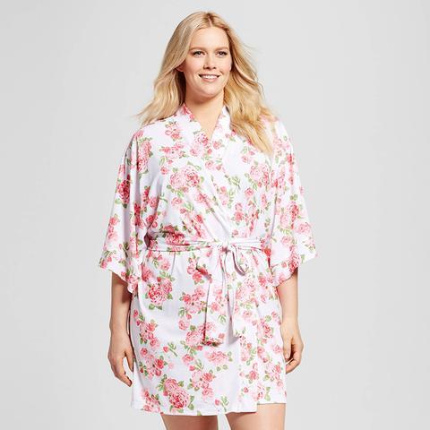 Plus Size Cabbage Rose Kimono Robe