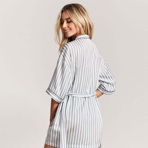 Striped Contrast Robe
