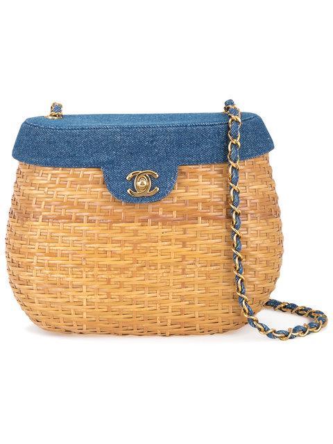 Chanel Vintage CC Logo Straw Basket Shoulder Bag