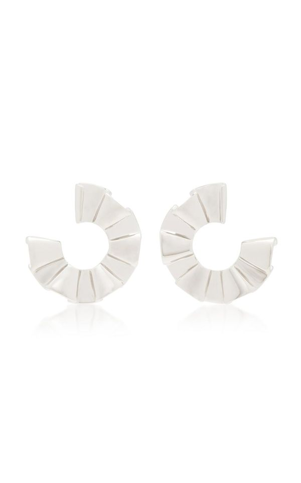 White Gold-Plated Ruffled Hoop Earrings