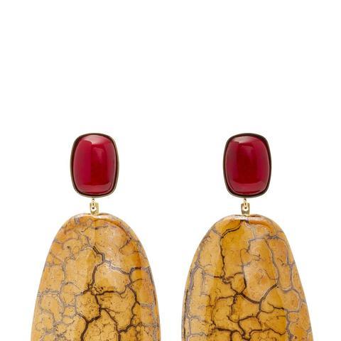 Square Gold-Tone Ceramic Earrings