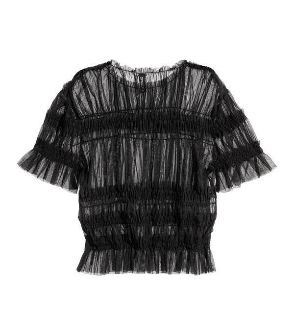Mesh Top with Smocking