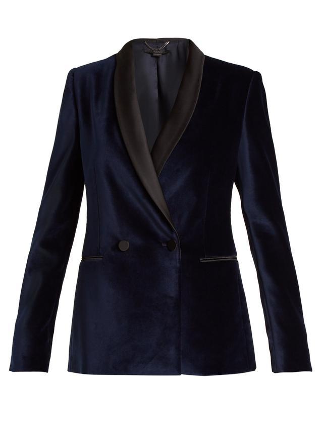 Double-breasted velvet jacket