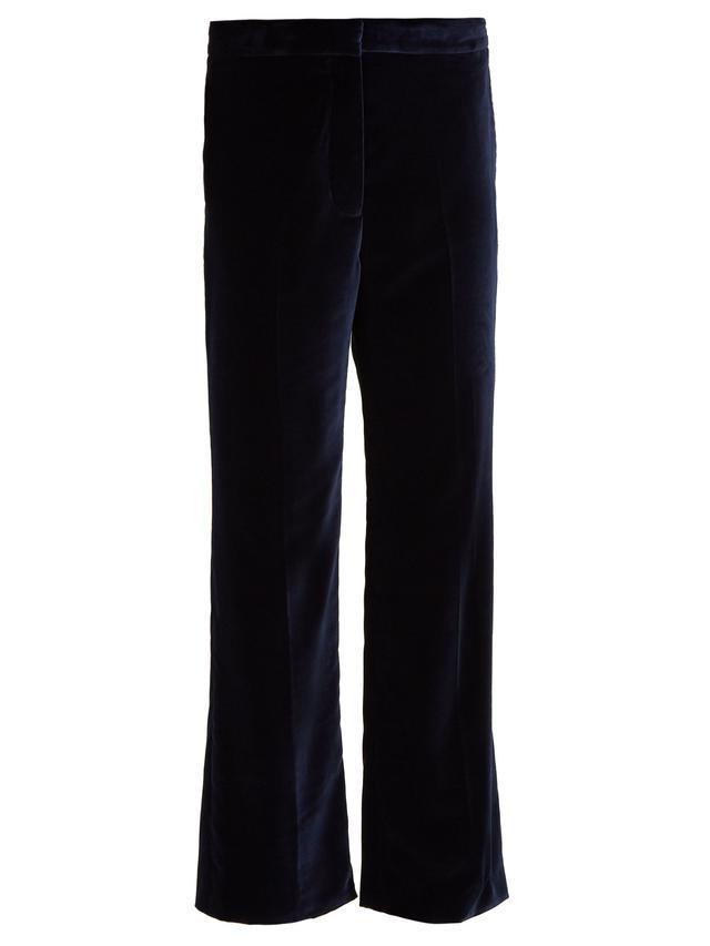 Kick-flare cropped velvet trousers