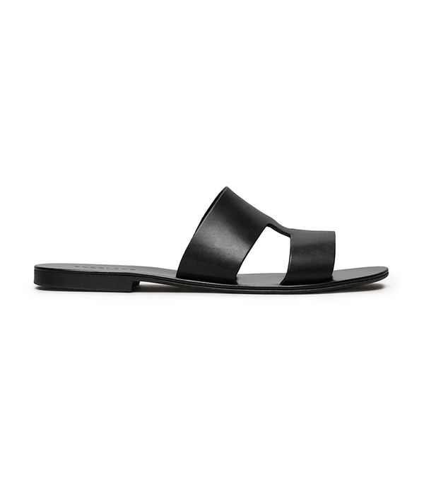 Women's  Flat Leather Sandal by Everlane in Black, Size 10