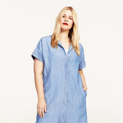Linen-Blend Shirt Dress