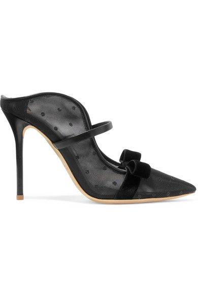 Malone Souliers Marguerite 100 Velvet and Leather-Trimmed Mesh Mules