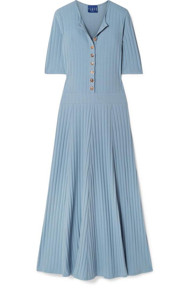 Albus Lumen Ribbed Cotton-Blend Jersey Maxi Dress