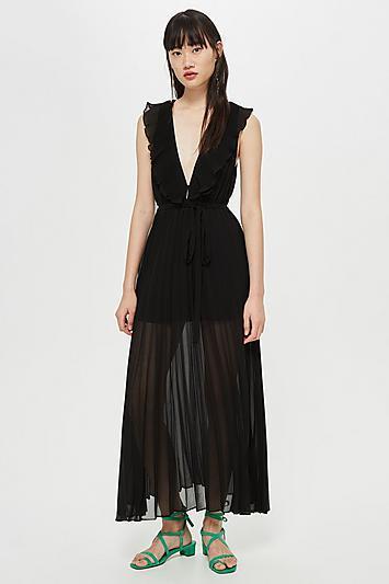 Topshop Ruffle Pleat Plunge Dress