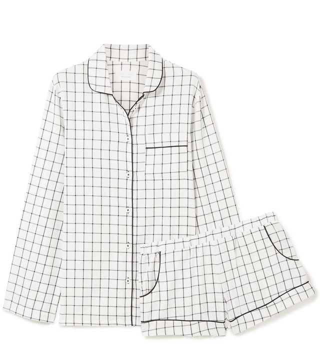 Josephine Checked Cotton-flannel Pajamas