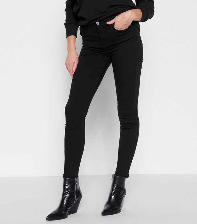 7 for All Mankind Slim Illusion Luxe High Waist Skinny Jeans in Black