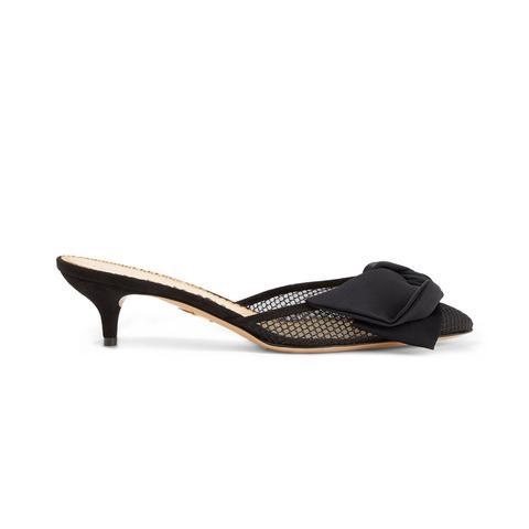 Sophie Suede-Trimmed Bow-Embellished Fishnet Mules