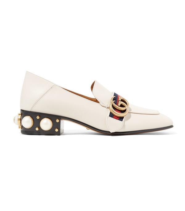 Peyton Embellished Leather Collapsible-heel Pumps