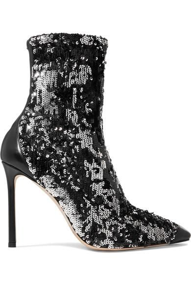Ricky 100 Leather-trimmed Sequined Stretch-knit Sock Boots