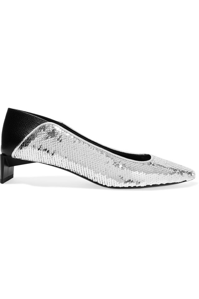 Leather-paneled Sequined Canvas Collapsible-heel Pumps