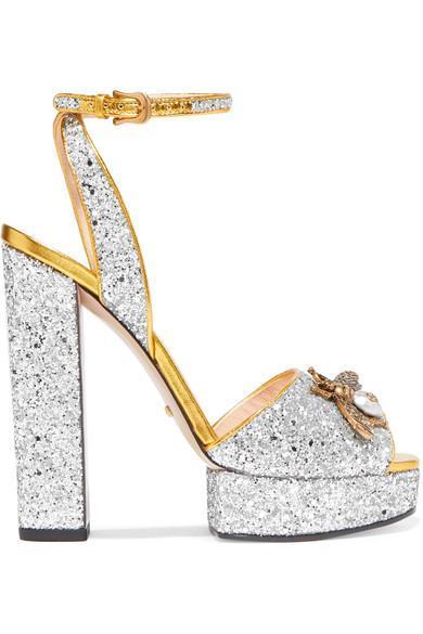 Embellished Glittered Leather Platform Sandals