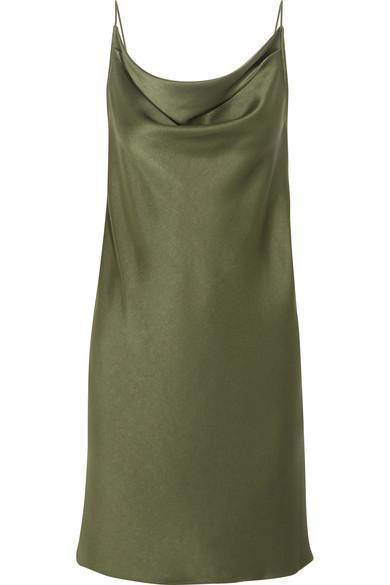 Draped Satin Mini Dress