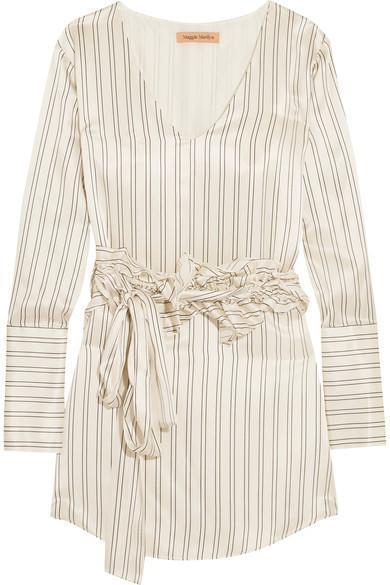 Somewhere Convertible Ruffled Pinstriped Silk-satin Mini Dress