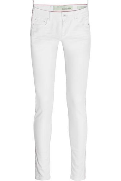 Grosgrain-trimmed Mid-rise Skinny Jeans