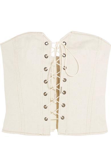 Pryam Lace-up Cotton-blend Twill Corset