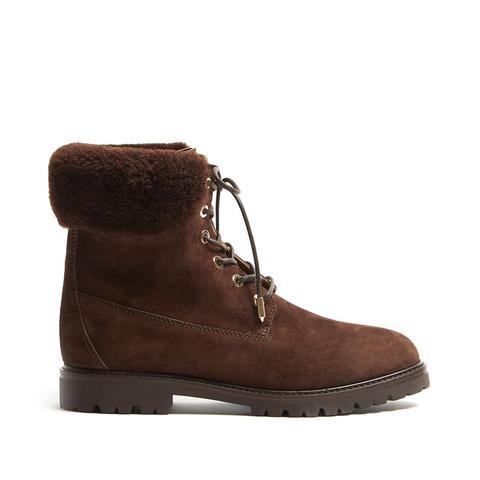 Heilbrunner Shearling-Trimmed Suede Ankle Boots