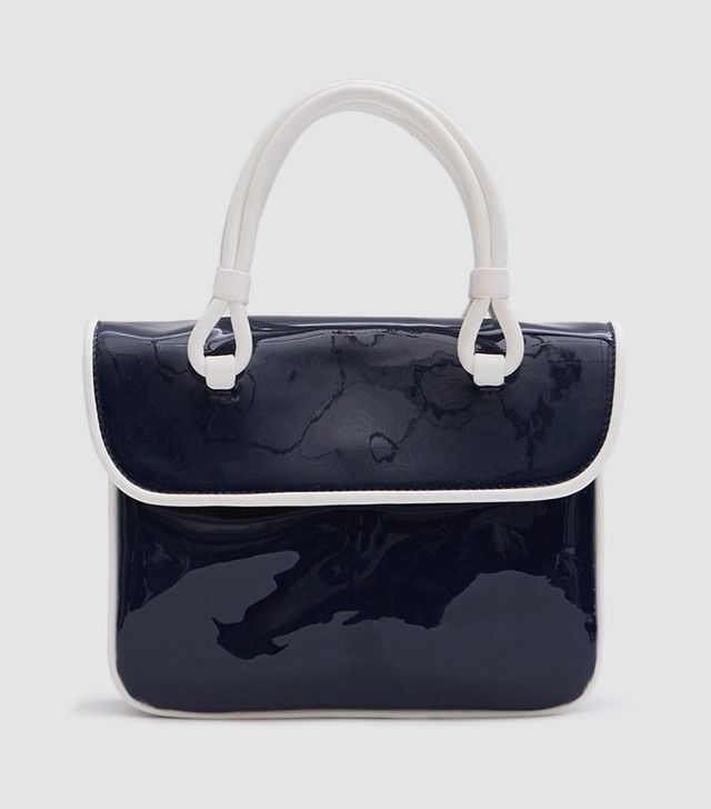 Lune Bag in Patent Navy/White