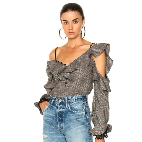 Wool Check Off-Shoulder Frill Top