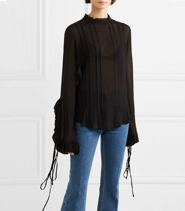 Alexia Lace-trimmed Ruffled Crepe De Chine Blouse