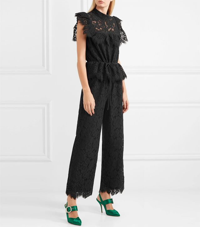 Ruffled Corded Lace Jumpsuit