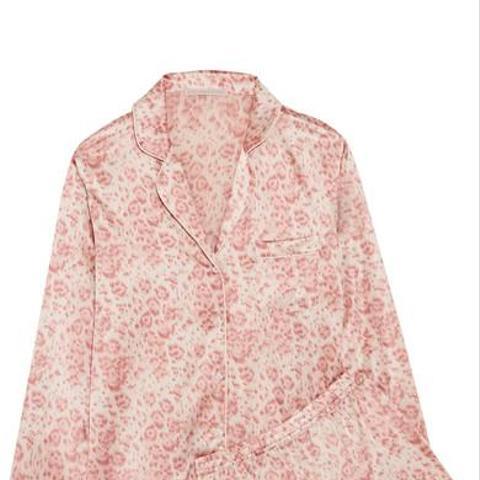 Poppy Snoozing Leopard-Print Stretch-Silk Satin Pajama Set