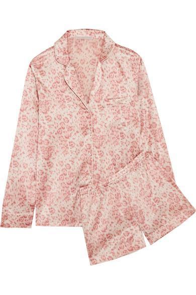 Stella McCartney Poppy Snoozing Leopard-Print Stretch-Silk Satin Pajama Set