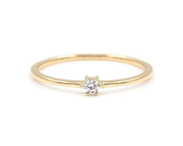Single White Diamond Stacking Ring