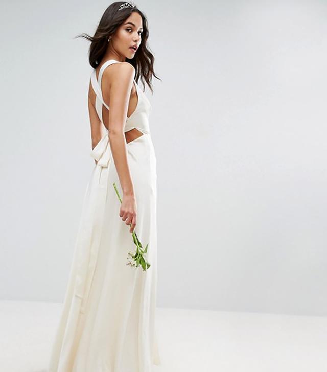 BRIDAL Deep Plunge Strap Back Fishtail Maxi Dress
