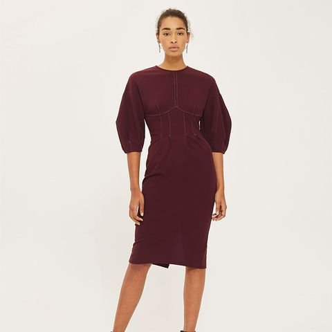 Balloon Sleeve Stitch Midi Dress
