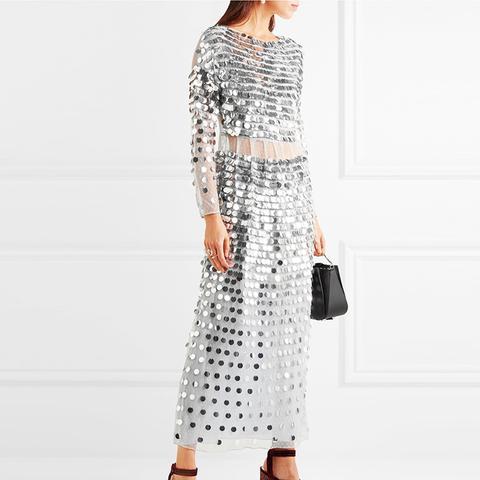 Paillette-Embellished Swiss-Dot Tulle Midi Dress