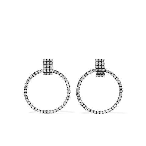 Stefano Oxidized Silver-Plated Swarovski Crystal Hoop Earrings