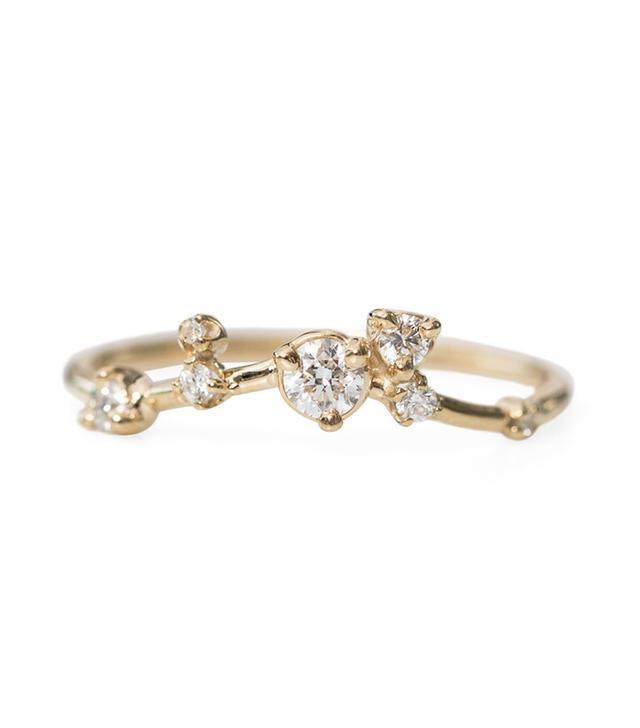 Wwake Organic Triangle Ring, White Diamonds