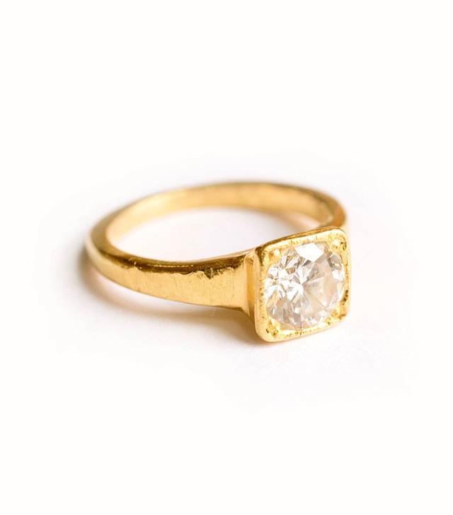 Melissa Tyson Designs Diamond 22K Gold Hammered Engagement Ring