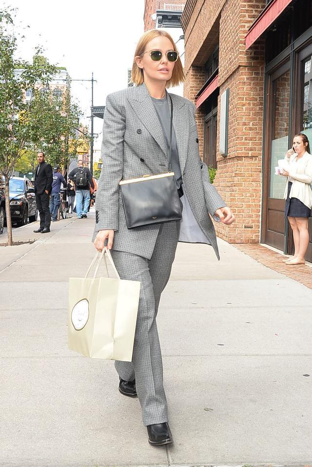 Lara Worthington Wearing Grey Suit