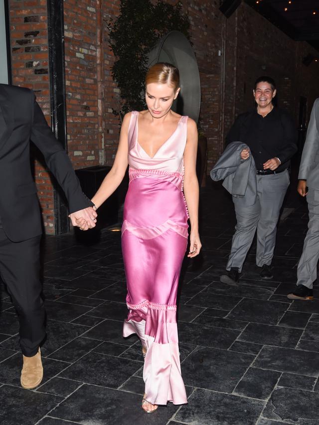 Lara Worthington Wearing Pink Dior Dress