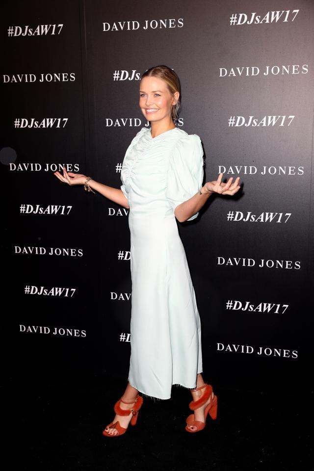 Lara Worthington Wearing Blue Dress