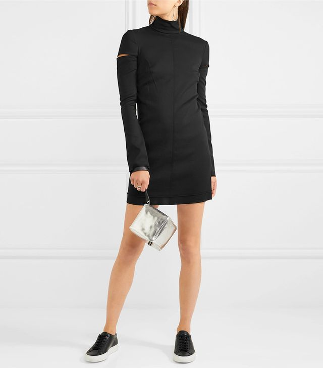 Cutout Wool-blend Turtleneck Mini Dress
