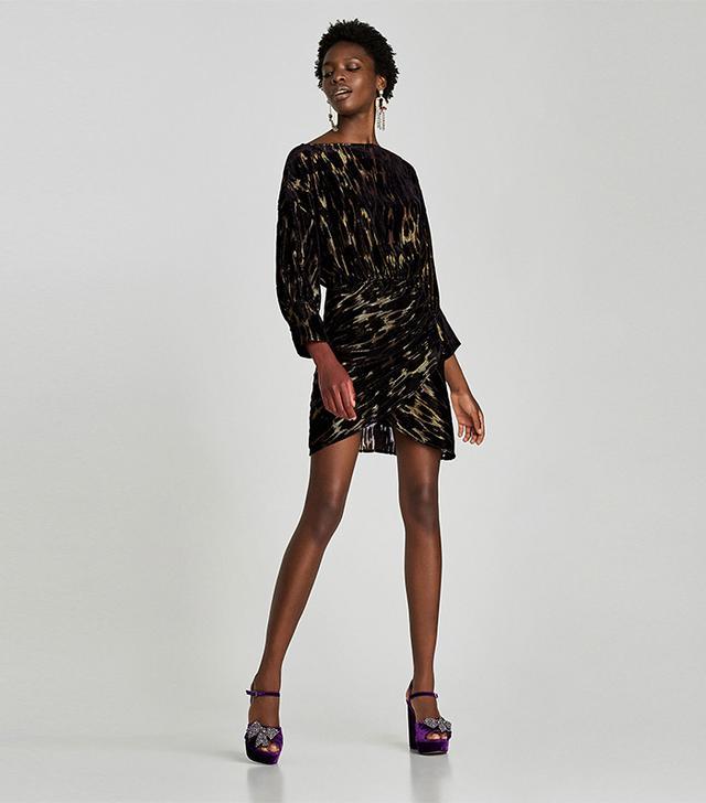 Zara Shiny Draped Mini Dress