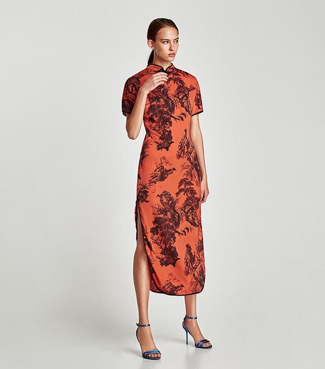 Zara Printed Satin Dress