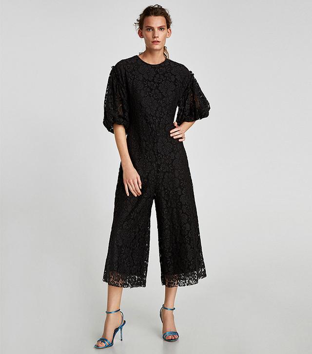 Zara Cropped Lace Jumpsuit